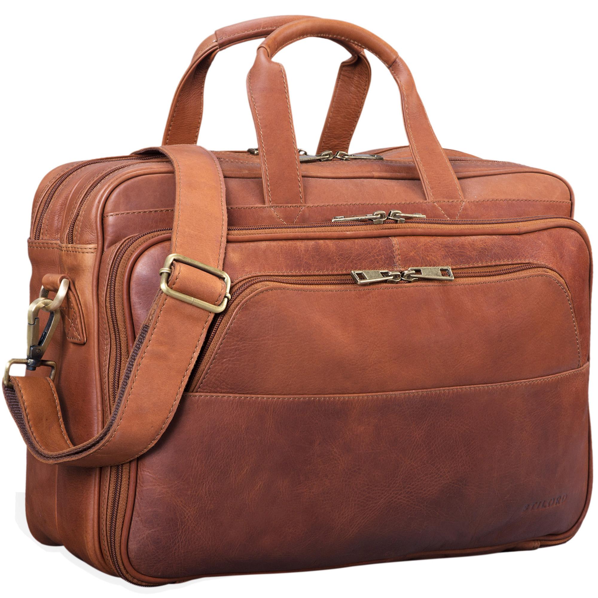 """STILORD """"Artemis"""" Vintage Lehrertasche Leder Aktentasche Herren Damen Businesstasche groß für zwei Aktenordner 15,6 Laptoptasche Echtleder - Bild 8"""