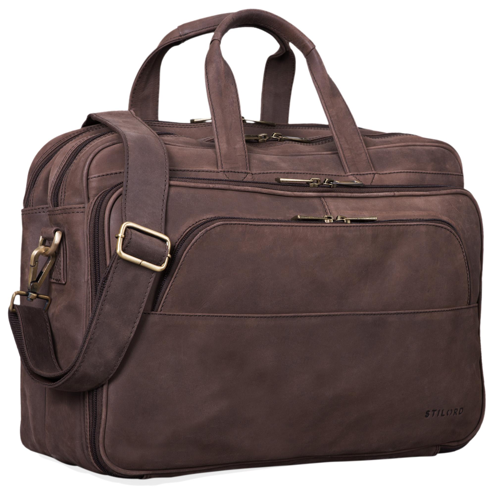 """STILORD """"Artemis"""" Vintage Lehrertasche Leder Aktentasche Herren Damen Businesstasche groß für zwei Aktenordner 15,6 Laptoptasche Echtleder - Bild 10"""