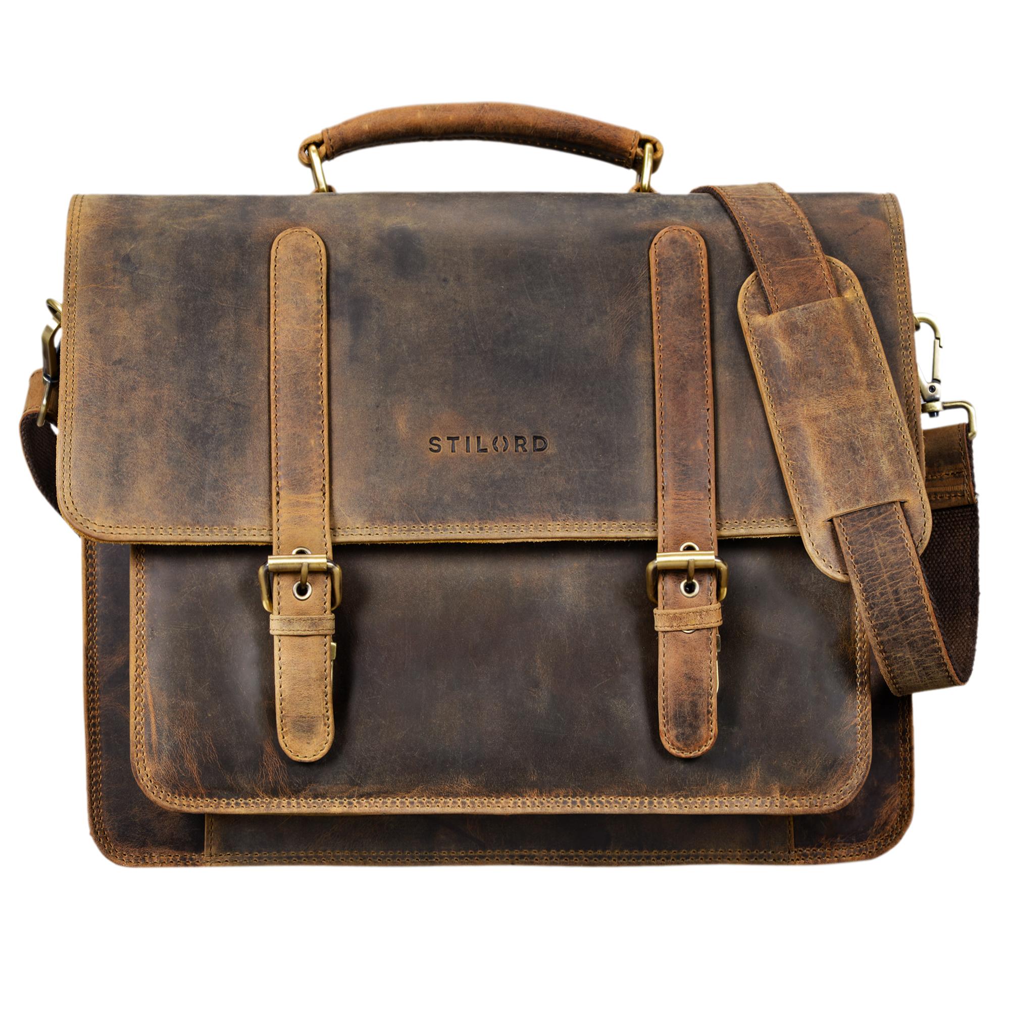 Klassische Leder Lehrertasche Vintage braun