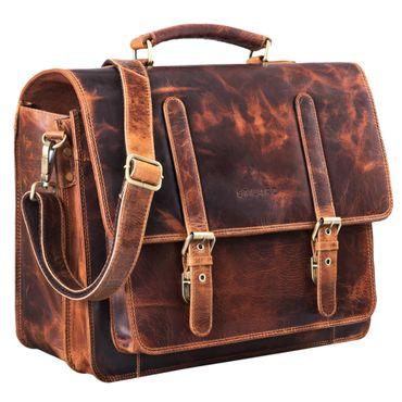 """STILORD """"Andro"""" Lehrer Aktentasche Leder Vintage Umhängetasche mit 14 Zoll Laptop Fach Businesstasche für breite DIN A4 Akten Ordner aus echtem Leder – Bild 9"""