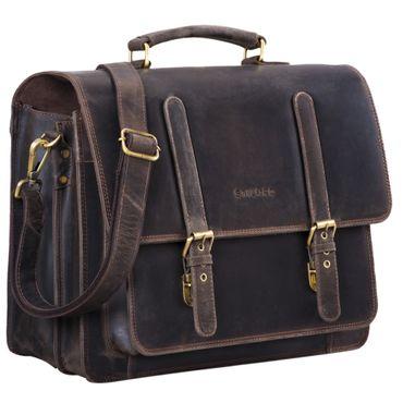 """STILORD """"Andro"""" Lehrer Aktentasche Leder Vintage Umhängetasche mit 14 Zoll Laptop Fach Businesstasche für breite DIN A4 Akten Ordner aus echtem Leder – Bild 8"""