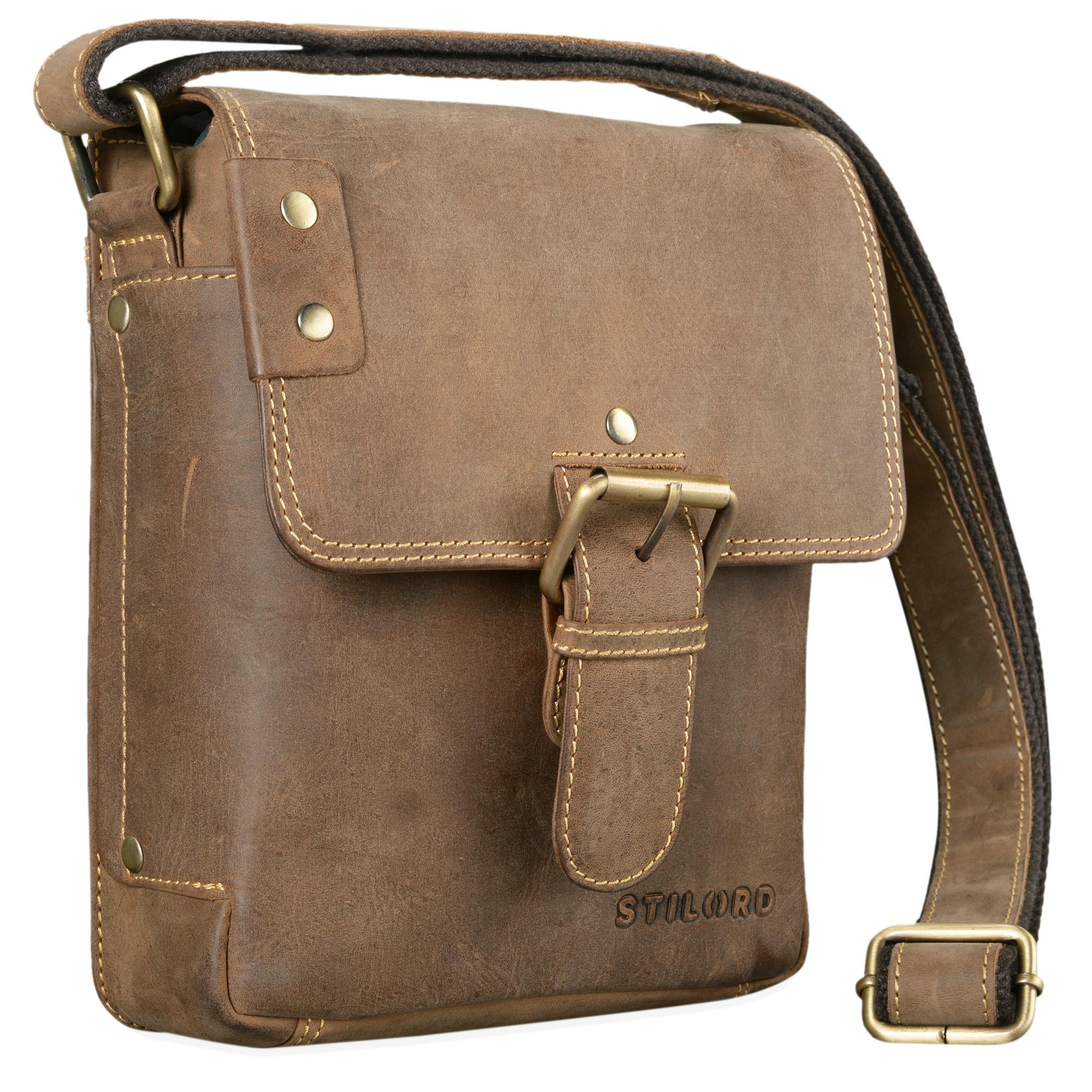 """STILORD """"Alessio"""" Leder Messenger Bag Männer klein Vintage Umhängetasche Herrentasche Tablettasche Schultertasche aus echtem Leder - Bild 9"""
