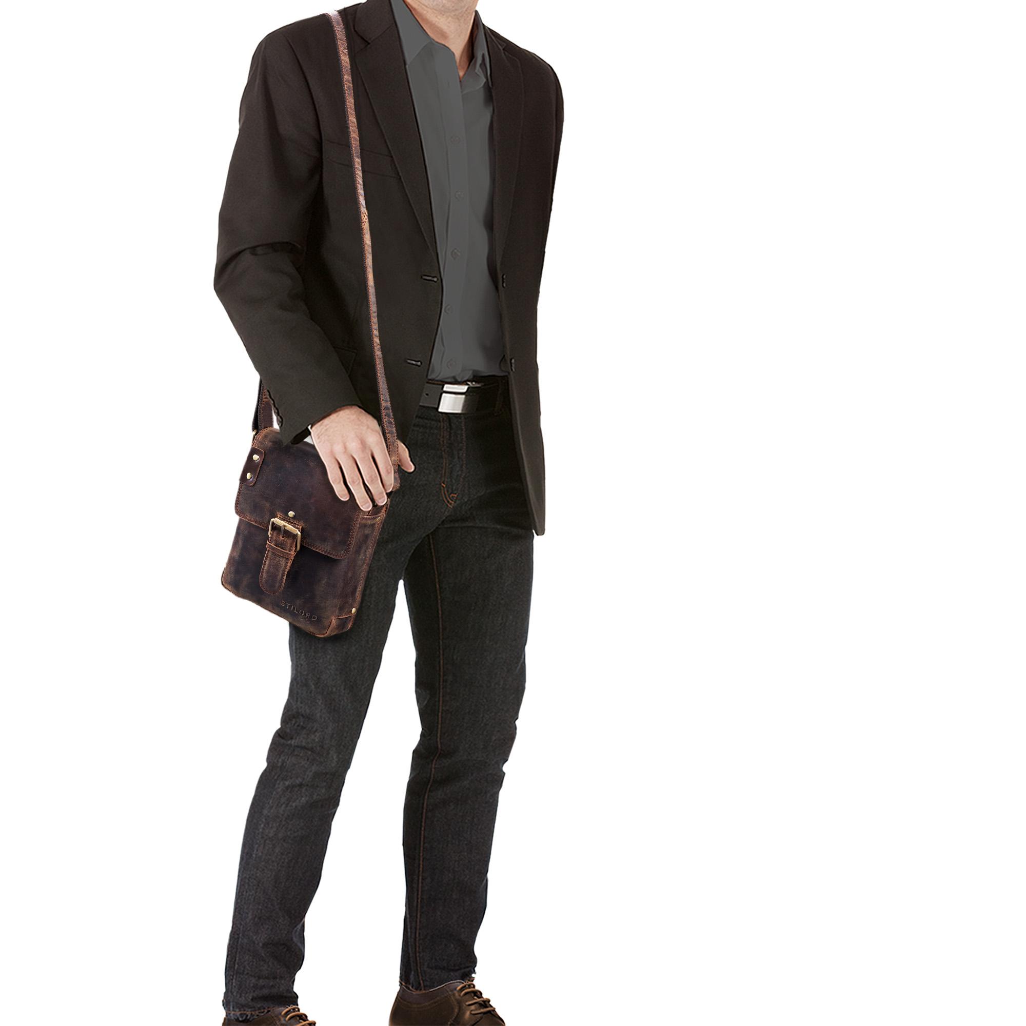 """STILORD """"Alessio"""" Leder Messenger Bag Männer klein Vintage Umhängetasche Herrentasche Tablettasche Schultertasche aus echtem Leder - Bild 2"""