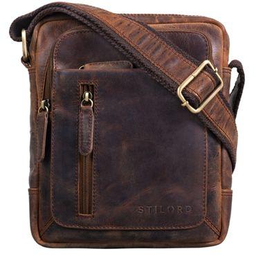 """STILORD """"Jamie"""" Herren Ledertasche Umhängetasche klein Vintage Messenger Bag Herrenhandtasche für 9.7 Zoll iPad moderne Leder Schultertasche für Männer Farbe: zamora - braun"""