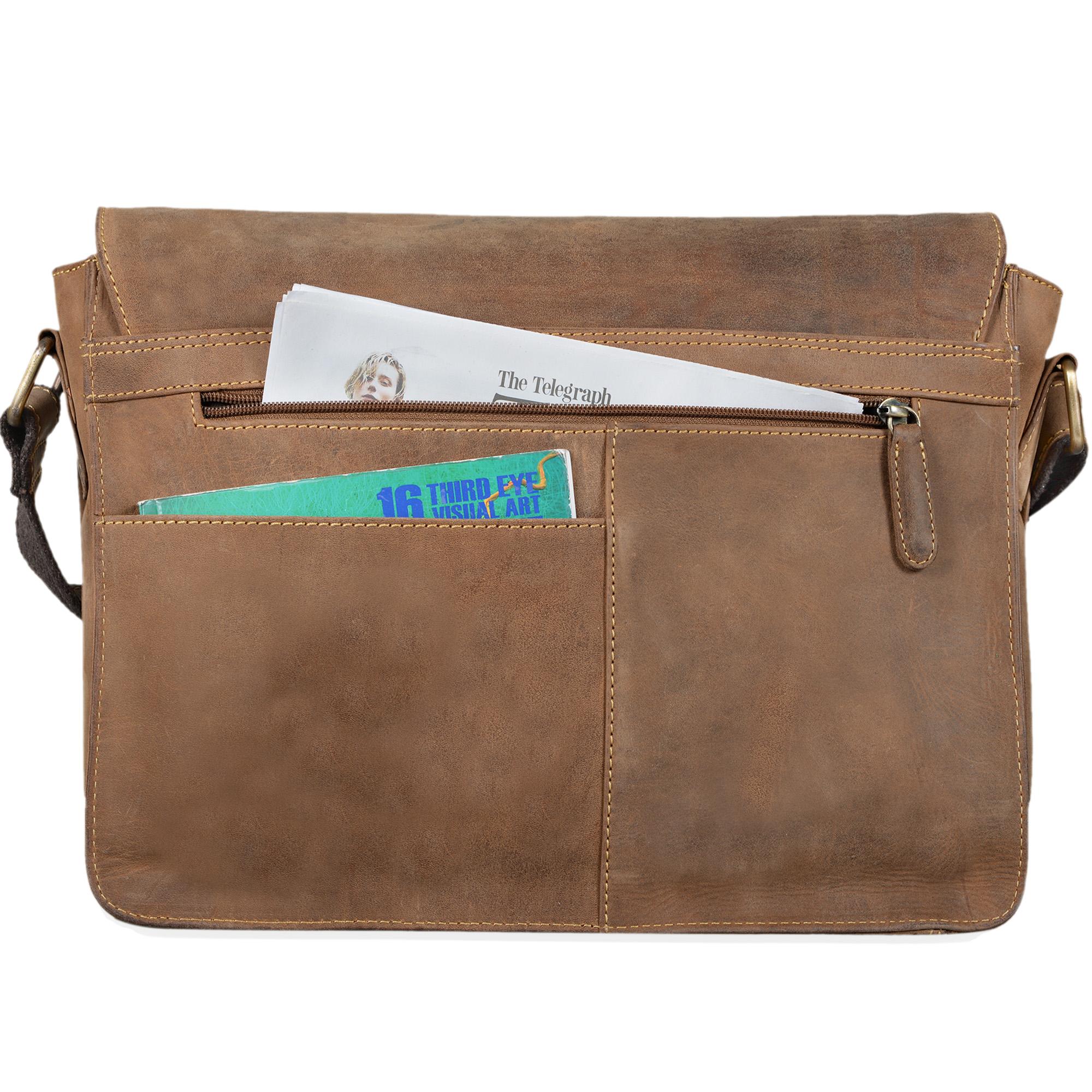 """STILORD """"Tim"""" Messenger Bag Leder für 13,3 Zoll MacBooktasche DIN A4 Herren Damen Vintage Umhängetasche Messengertasche Unitasche Büchertasche Echtleder - Bild 12"""