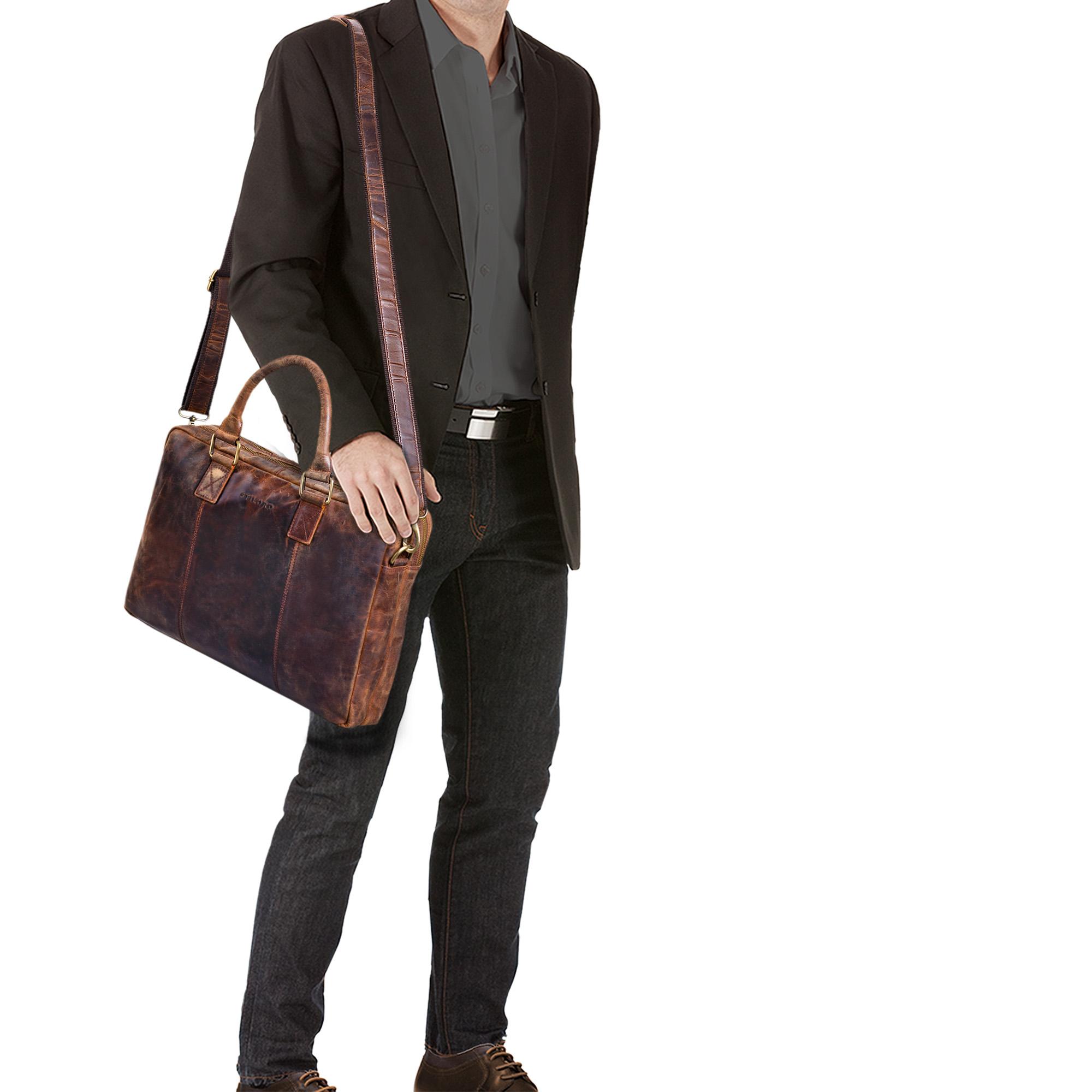 """STILORD """"Zacharias"""" Vintage Businesstasche Leder Aktentasche groß XL 15,6 Zoll Laptoptasche Schultertasche Umhängetasche Echtleder - Bild 2"""