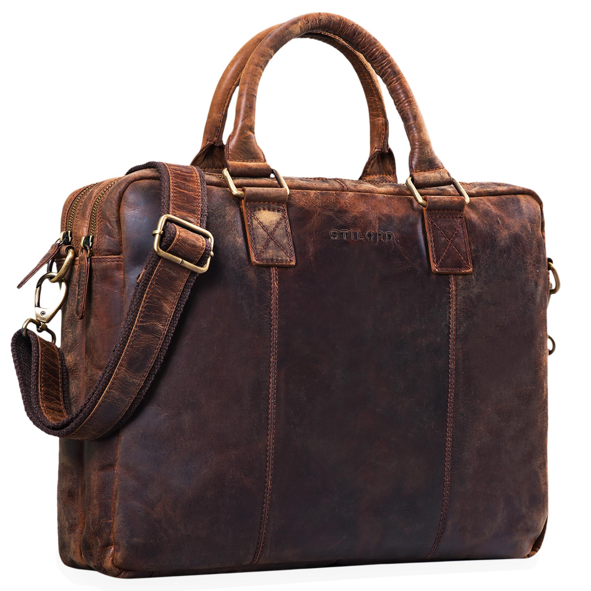 """STILORD """"Zacharias"""" Vintage Businesstasche Leder Aktentasche groß XL 15,6 Zoll Laptoptasche Schultertasche Umhängetasche Echtleder - Bild 1"""