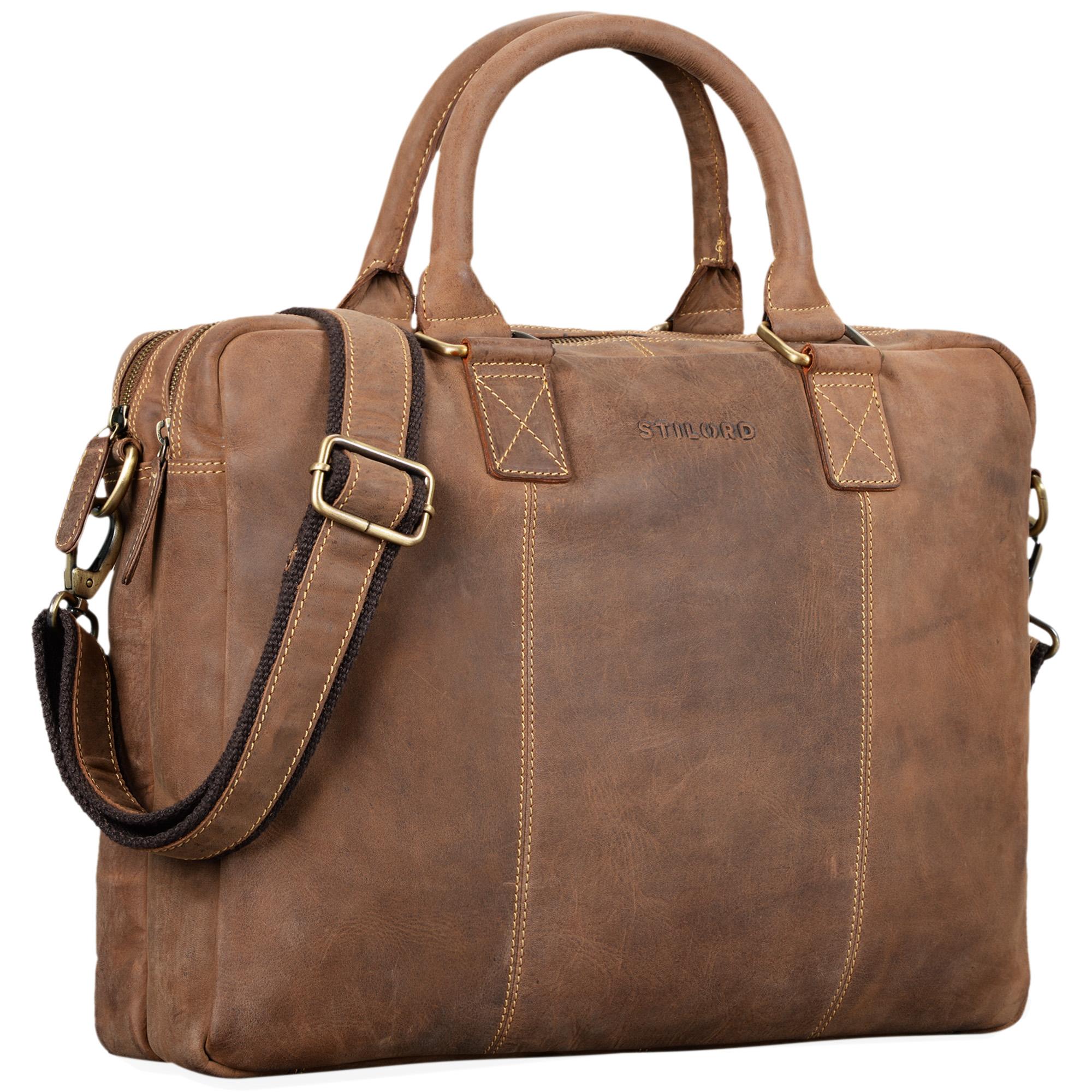 """STILORD """"Zacharias"""" Vintage Businesstasche Leder Aktentasche groß XL 15,6 Zoll Laptoptasche Schultertasche Umhängetasche Echtleder - Bild 8"""