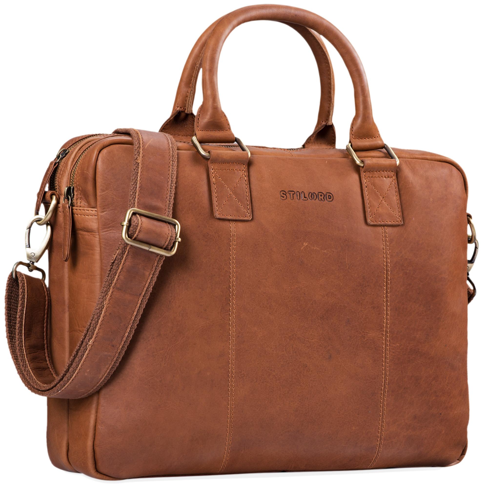 """STILORD """"Zacharias"""" Vintage Businesstasche Leder Aktentasche groß XL 15,6 Zoll Laptoptasche Schultertasche Umhängetasche Echtleder - Bild 9"""