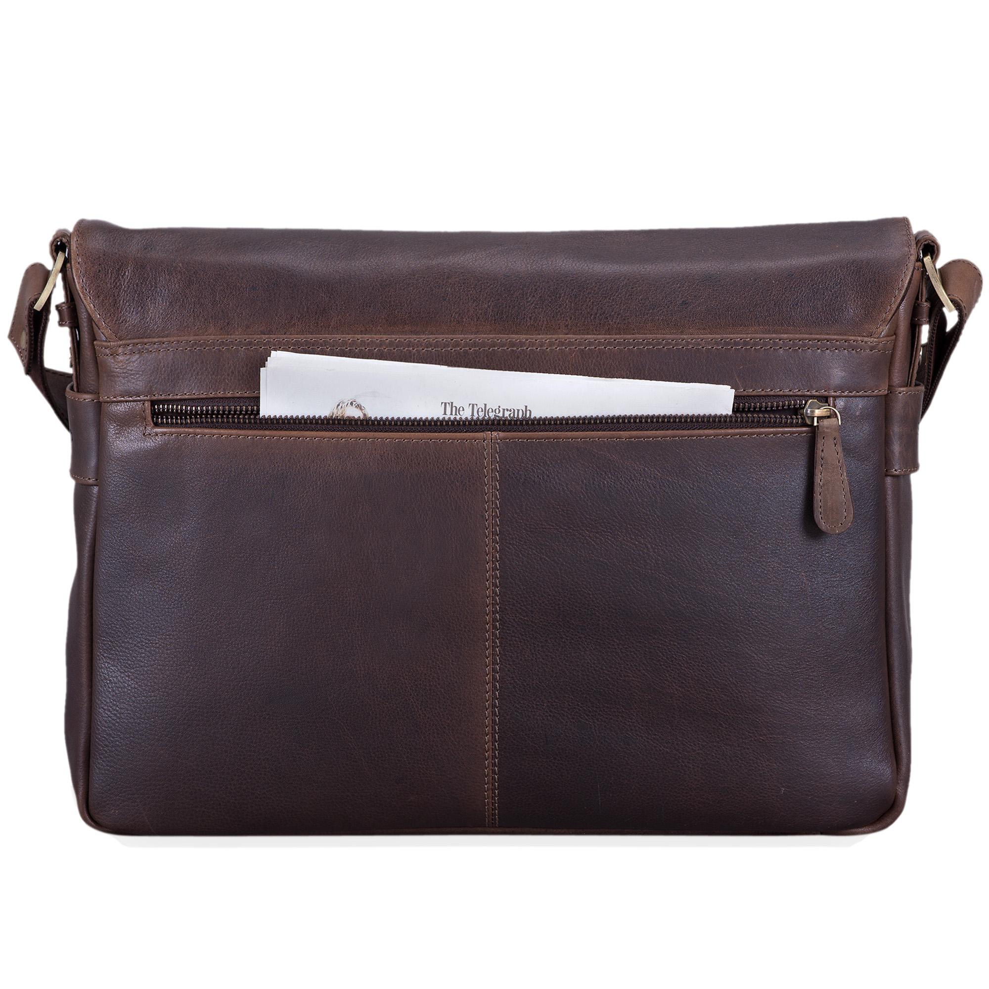 """STILORD """"Miro"""" Messenger Bag Leder Umhängetasche 14 Zoll Vintage Design für Herren Damen Uni Büro Arbeit Aktentasche DIN A4 Laptoptasche Echtleder - Bild 6"""