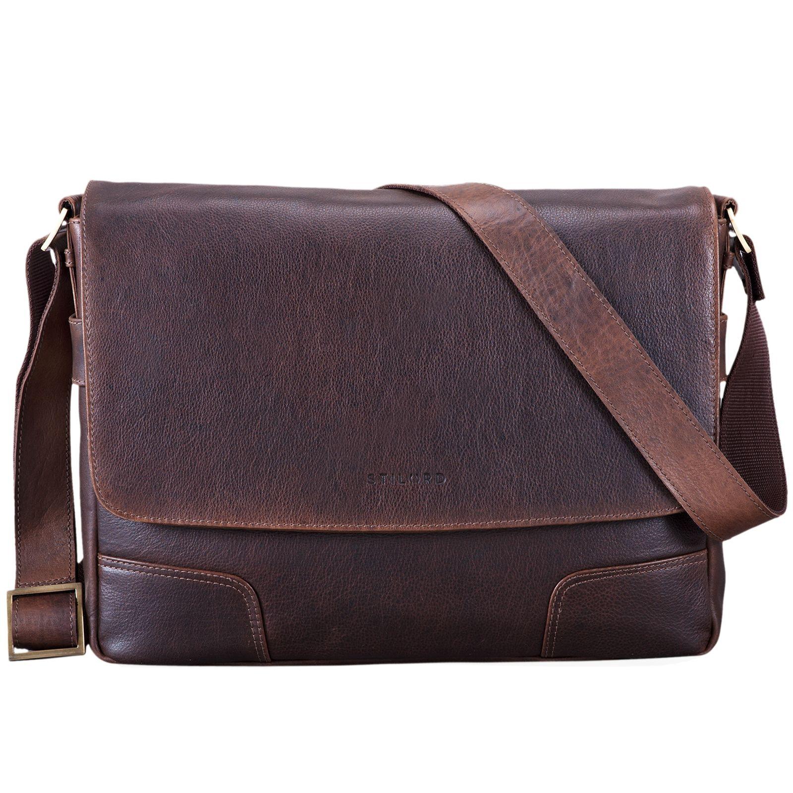 """STILORD """"Miro"""" Messenger Bag Leder Umhängetasche 14 Zoll Vintage Design für Herren Damen Uni Büro Arbeit Aktentasche DIN A4 Laptoptasche Echtleder - Bild 3"""