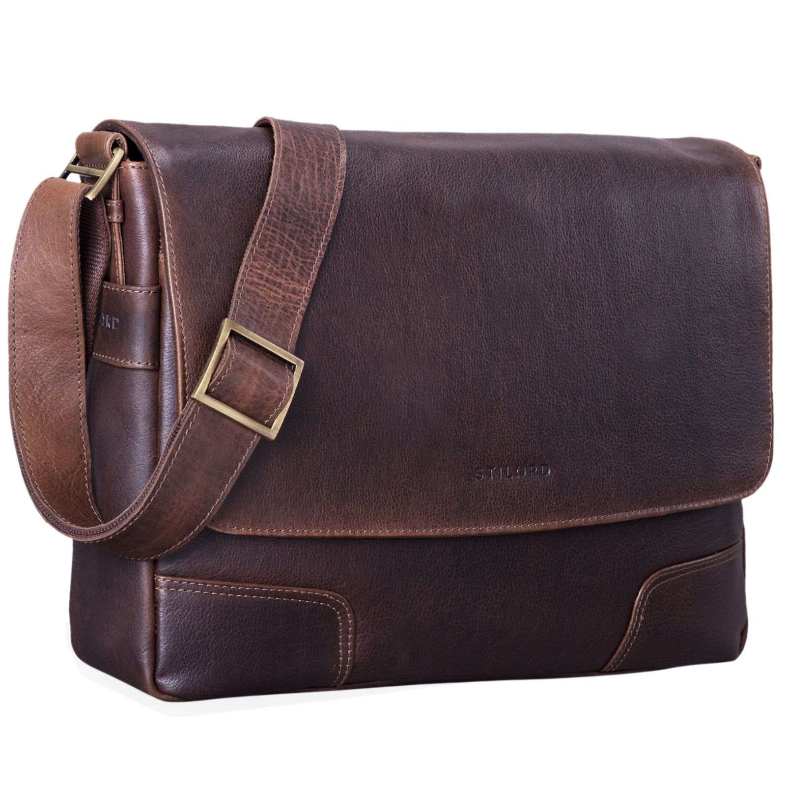 Leder Messenger Bag schwarz