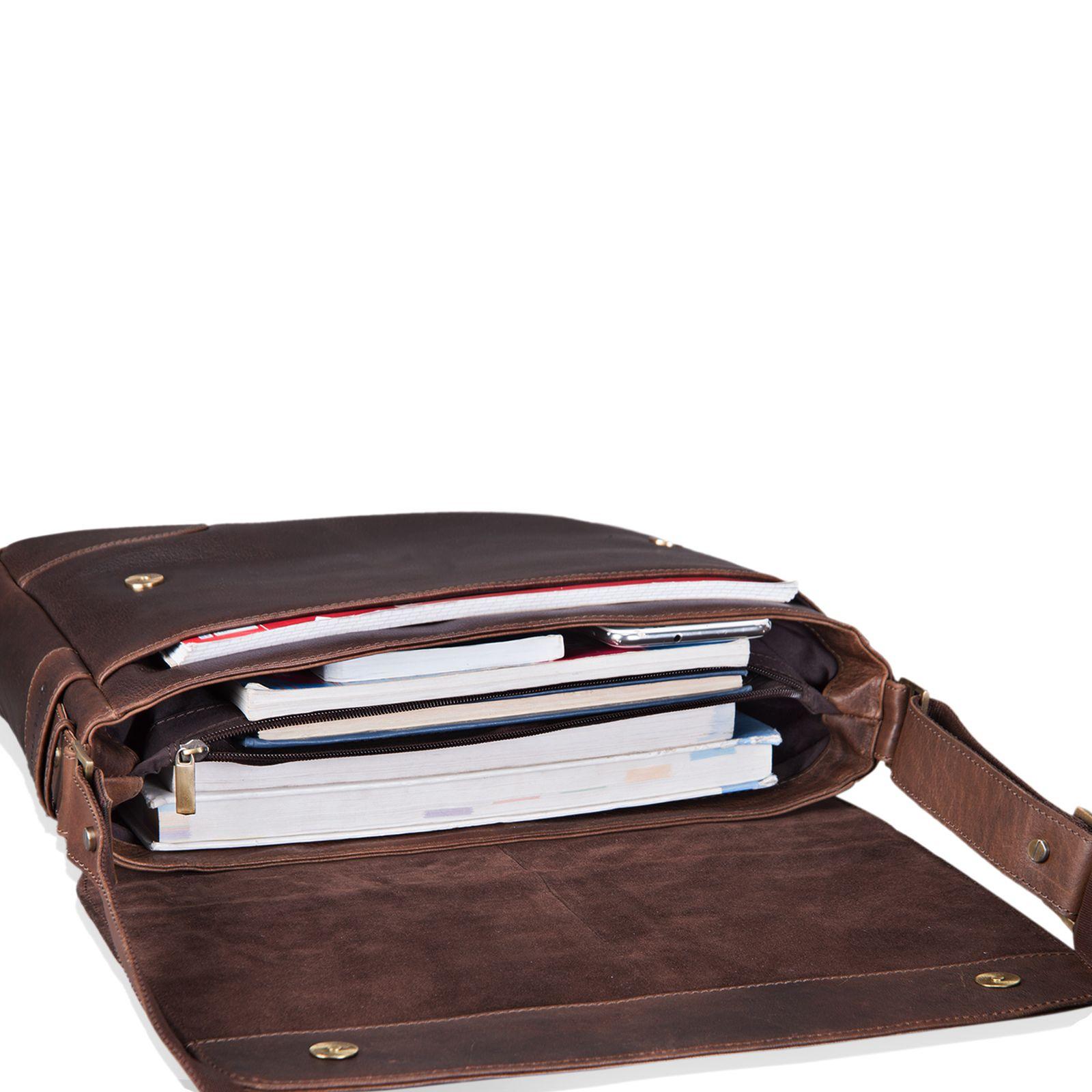 """STILORD """"Miro"""" Messenger Bag Leder Umhängetasche 14 Zoll Vintage Design für Herren Damen Uni Büro Arbeit Aktentasche DIN A4 Laptoptasche Echtleder - Bild 7"""