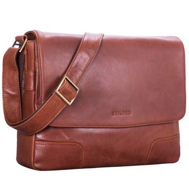 """STILORD """"Miro"""" Messenger Bag Leder Umhängetasche 14 Zoll Vintage Design für Herren Damen Uni Büro Arbeit Aktentasche DIN A4 Laptoptasche Echtleder – Bild 10"""