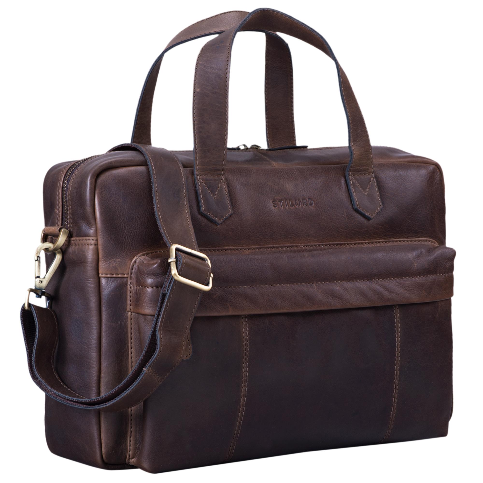 """STILORD """"Erich"""" Vintage Leder Bürotasche große Umhängetasche für Herren und Damen mit 15.6 Zoll Laptop-Fach elegante Aktentasche DIN A4 für Business Arbeit Uni - Bild 9"""