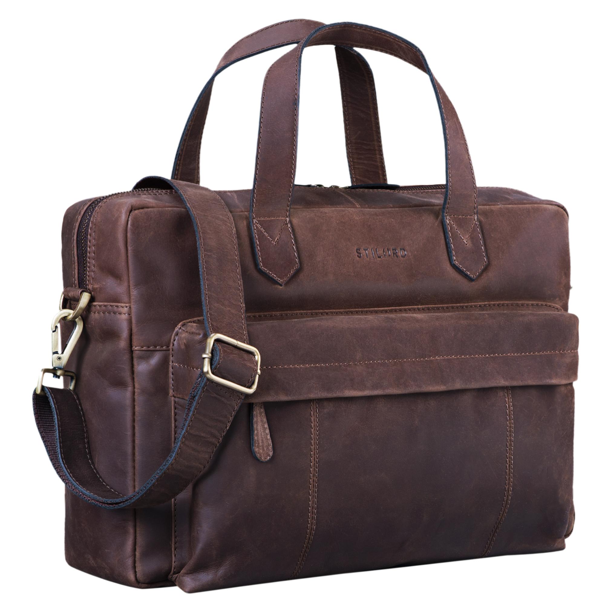 """STILORD """"Erich"""" Vintage Leder Bürotasche große Umhängetasche für Herren und Damen mit 15.6 Zoll Laptop-Fach elegante Aktentasche DIN A4 für Business Arbeit Uni - Bild 8"""