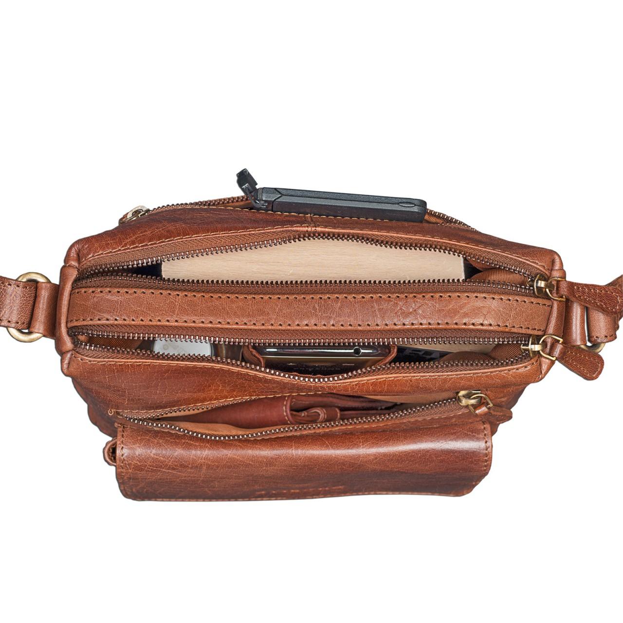 Täschchen Damen Handtasche Leder braun