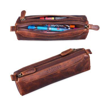 """STILORD """"Jim"""" Federmappe Leder Vintage Stifte Euti 2 Fach rundes Federmäppchen groß Stiftemappe für Damen und Herren Faulenzer aus echtem Leder – Bild 8"""