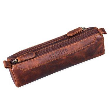 """STILORD """"Jim"""" Federmappe Leder Vintage Stifte Euti 2 Fach rundes Federmäppchen groß Stiftemappe für Damen und Herren Faulenzer aus echtem Leder Farbe: kara - cognac"""