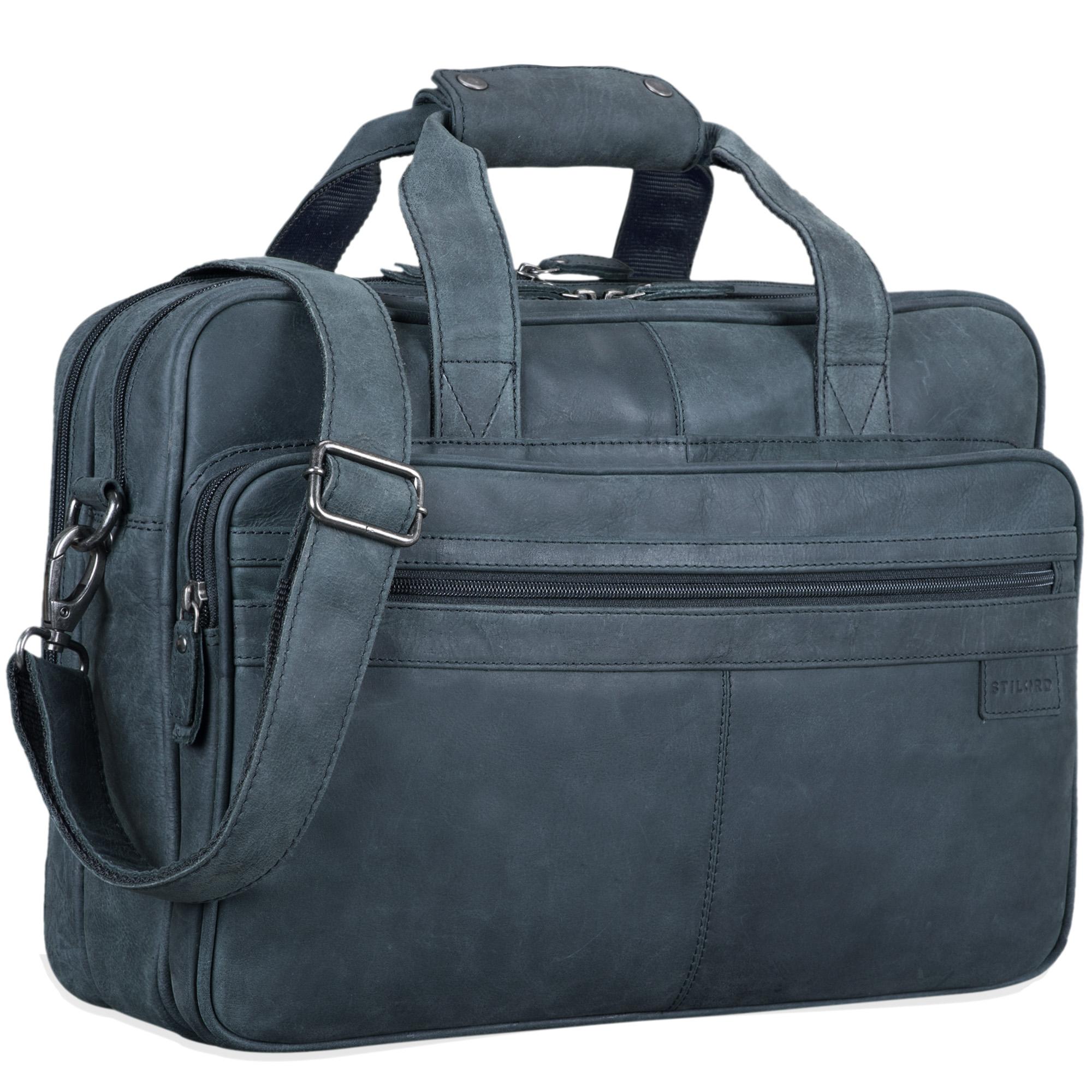 """STILORD """"Atlantis"""" Leder Aktentasche groß Vintage Lehrertasche Arbeitstasche große Ledertasche Businesstasche zum Umhängen Trolley aufsteckbar - Bild 11"""