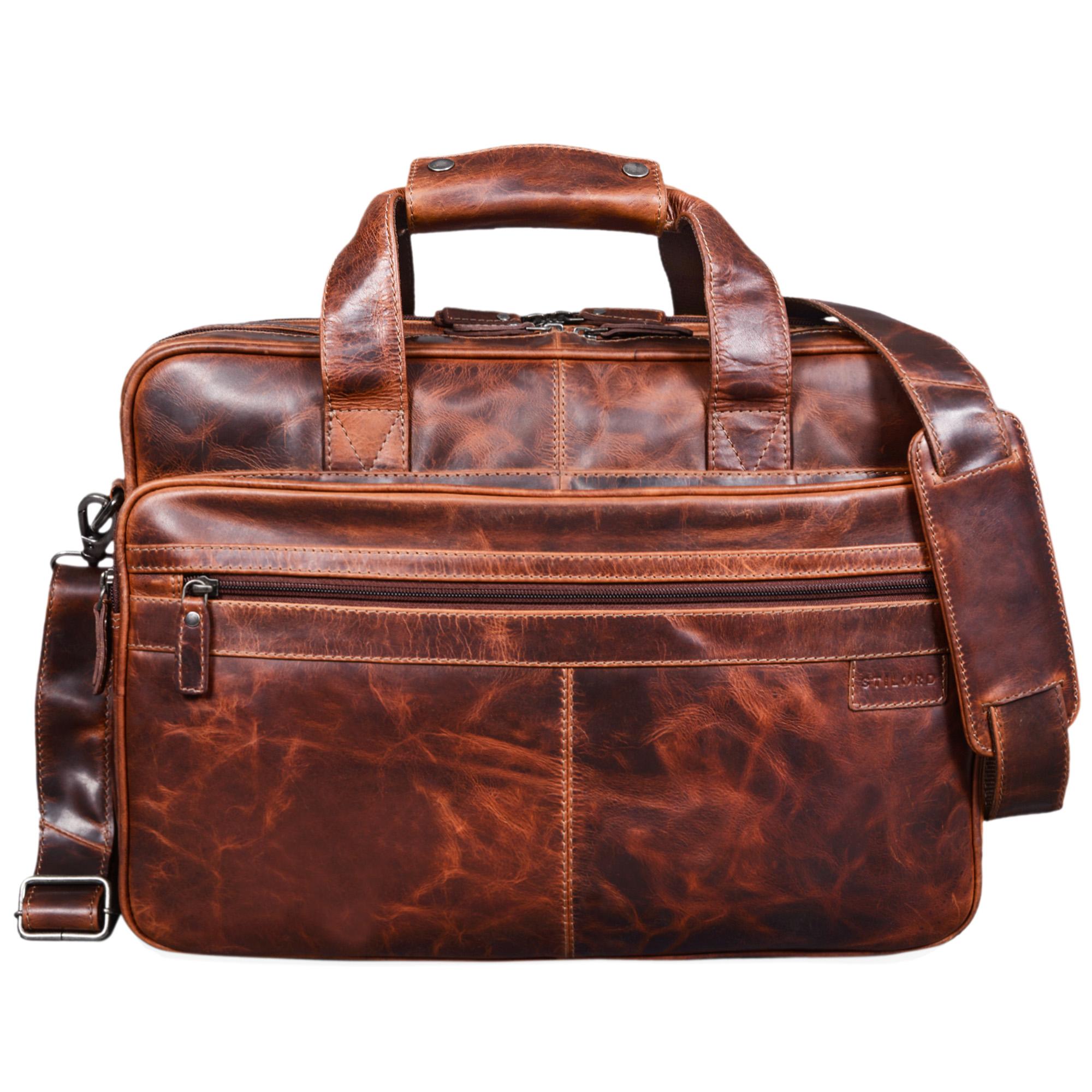 """STILORD """"Atlantis"""" Leder Aktentasche groß Vintage Lehrertasche Arbeitstasche große Ledertasche Businesstasche zum Umhängen Trolley aufsteckbar - Bild 3"""