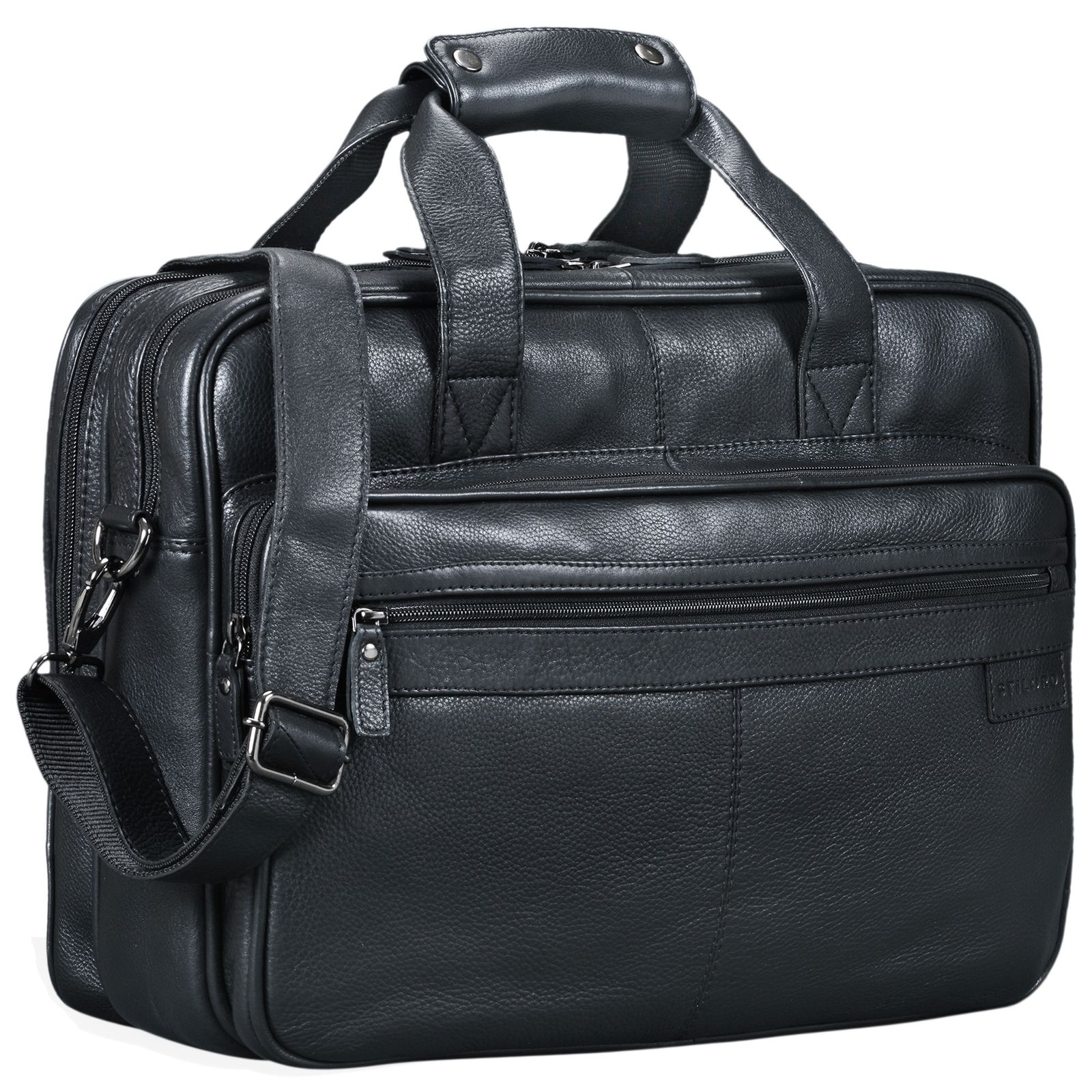 """STILORD """"Atlantis"""" Leder Aktentasche groß Vintage Lehrertasche Arbeitstasche große Ledertasche Businesstasche zum Umhängen Trolley aufsteckbar - Bild 10"""