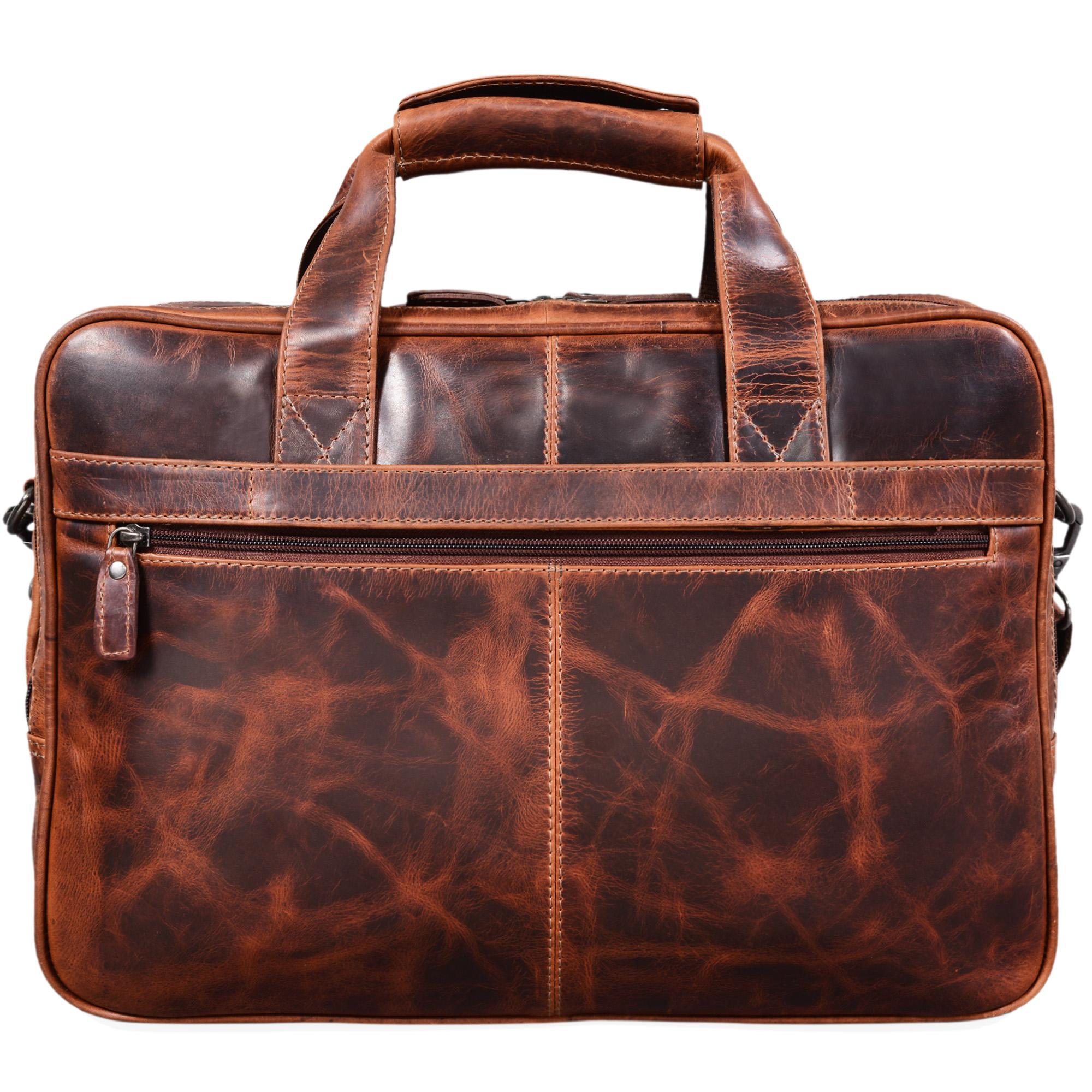 """STILORD """"Atlantis"""" Leder Aktentasche groß Vintage Lehrertasche Arbeitstasche große Ledertasche Businesstasche zum Umhängen Trolley aufsteckbar - Bild 6"""