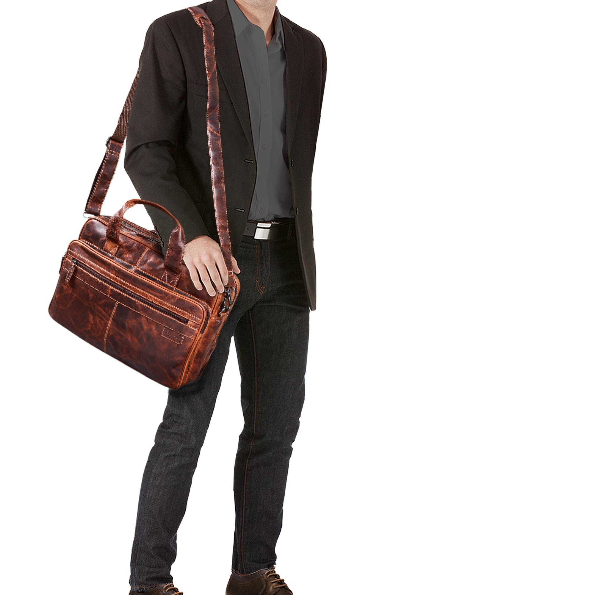 """STILORD """"Atlantis"""" Leder Aktentasche groß Vintage Lehrertasche Arbeitstasche große Ledertasche Businesstasche zum Umhängen Trolley aufsteckbar - Bild 2"""