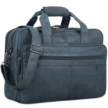 """STILORD """"Atlantis"""" Leder Aktentasche groß Vintage Lehrertasche Arbeitstasche große Ledertasche Businesstasche zum Umhängen Trolley aufsteckbar – Bild 11"""