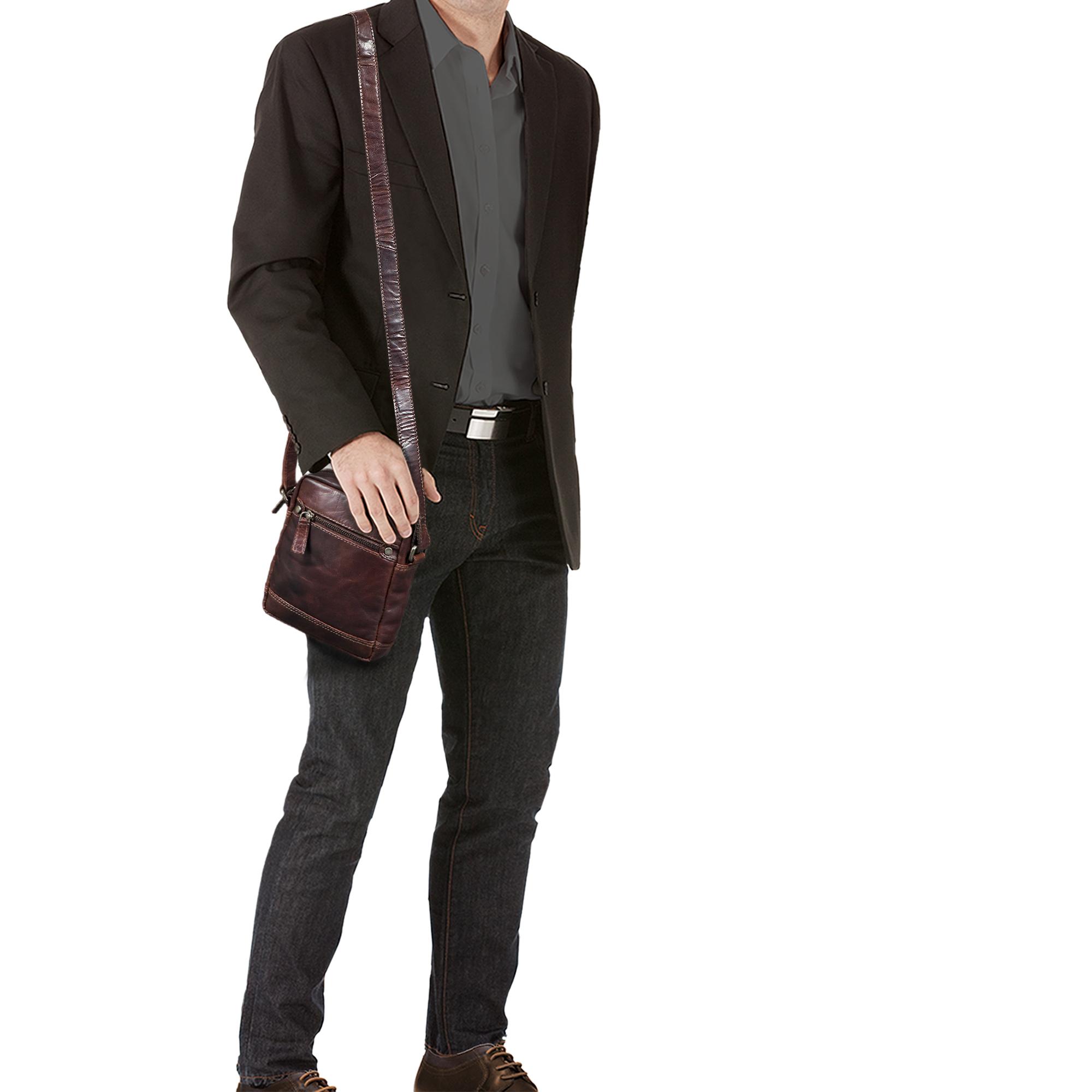 """STILORD """"Pepe"""" Vintage Schultertasche Herren Leder klein Umhängetasche für Männer kompakte Cross Body Bag mit Schultergurt und Reißverschluss aus echtem Leder - Bild 3"""