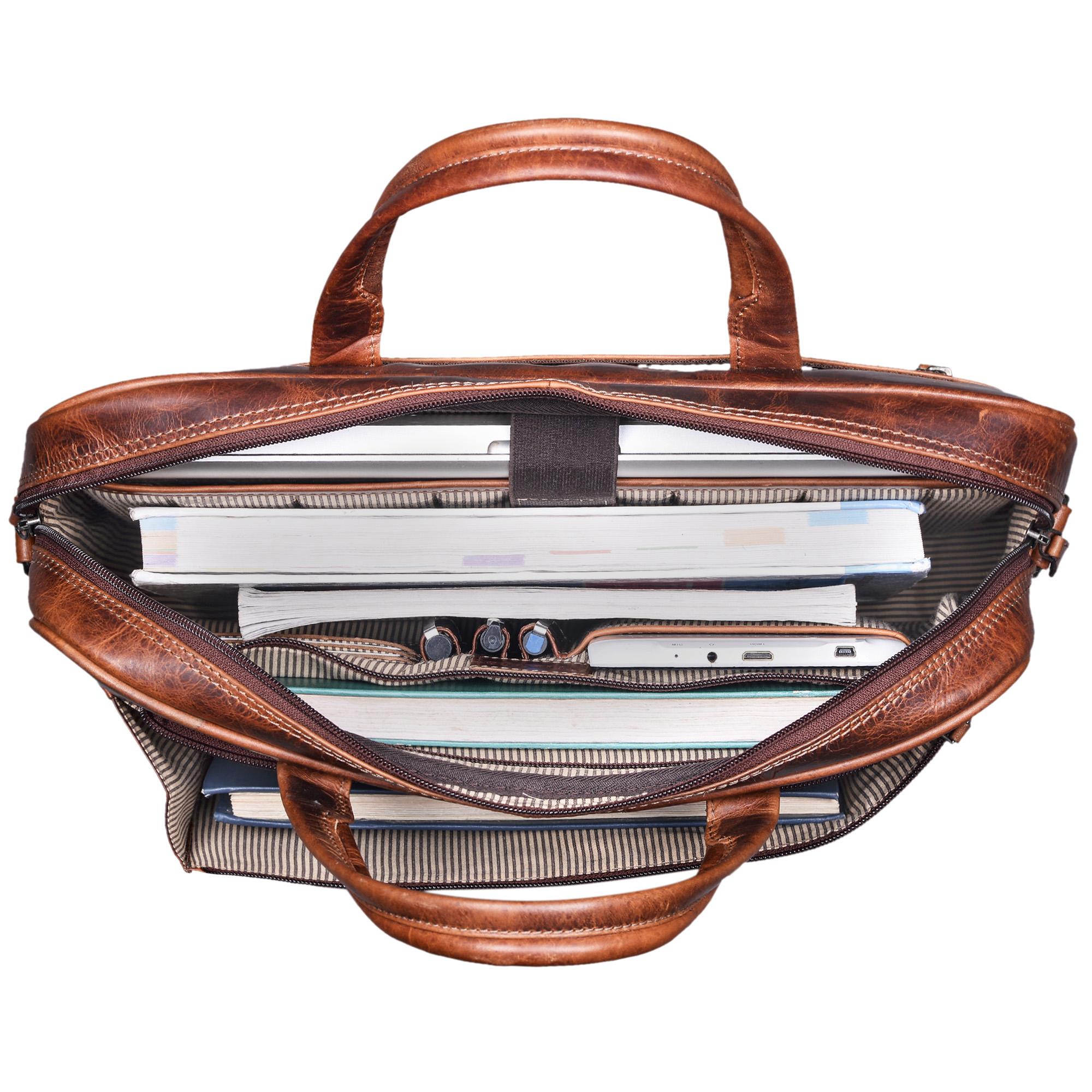 """STILORD """"Phoenix"""" Vintage Businesstasche Leder mit Schultergurt für MacBooks 13,3 Zoll Laptoptasche elegante Umhängetasche Aktentasche aufsteckbar  - Bild 5"""
