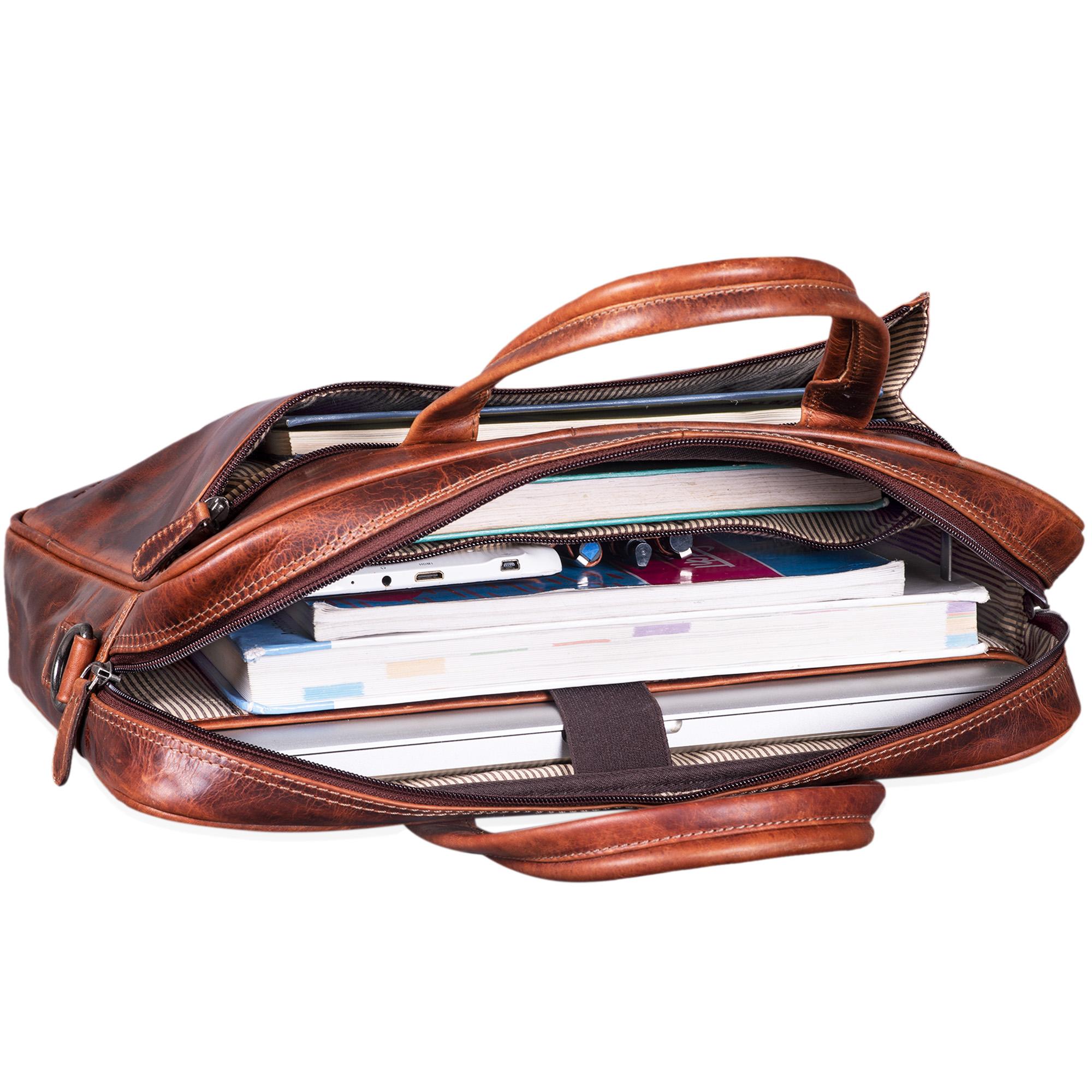 """STILORD """"Phoenix"""" Vintage Businesstasche Leder mit Schultergurt für MacBooks 13,3 Zoll Laptoptasche elegante Umhängetasche Aktentasche aufsteckbar  - Bild 7"""