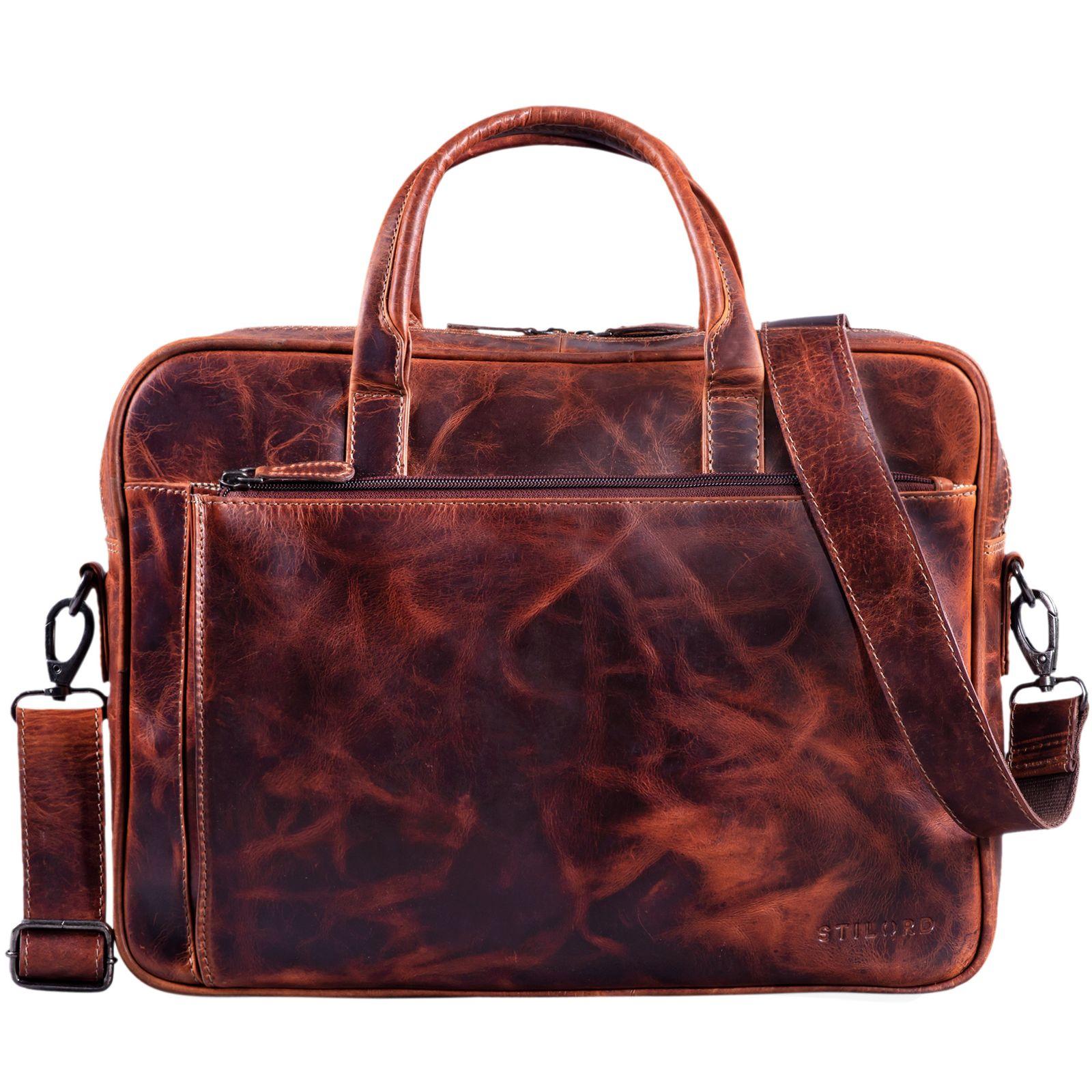 """STILORD """"Phoenix"""" Vintage Businesstasche Leder mit Schultergurt für MacBooks 13,3 Zoll Laptoptasche elegante Umhängetasche Aktentasche aufsteckbar  - Bild 3"""