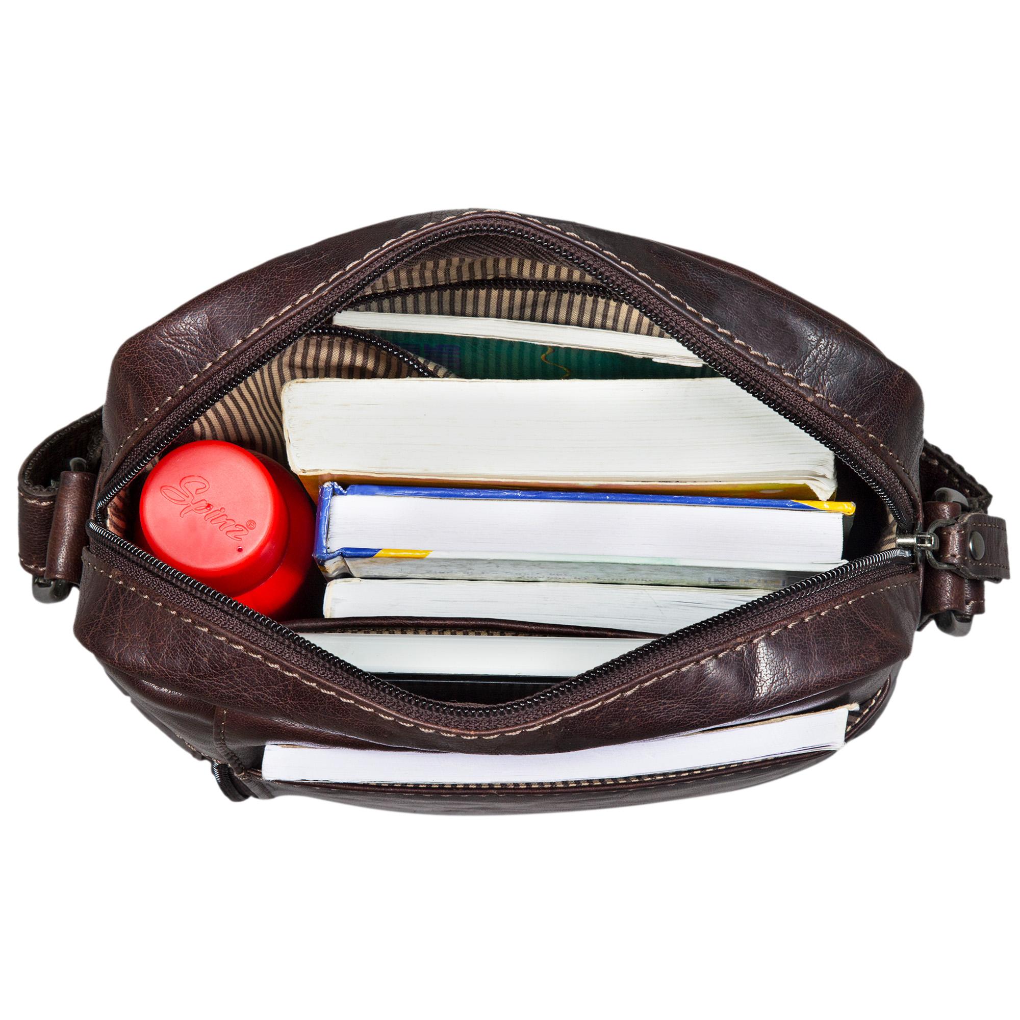 """STILORD """"Quentin"""" kleine Ledertasche Herren Umhängetasche für iPad Hülle 10,1 Zoll Tablettasche Herrentasche Messenger Bag Vintage Rindsleder  - Bild 4"""