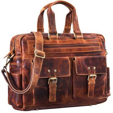 """STILORD """"Pablo"""" Vintage Ledertasche Laptoptasche für 15.6 Zoll Notebooks große Umhängetasche für Arbeit Büro Uni mit Schultergurt und Laptop-Fach echtes Leder – Bild 8"""