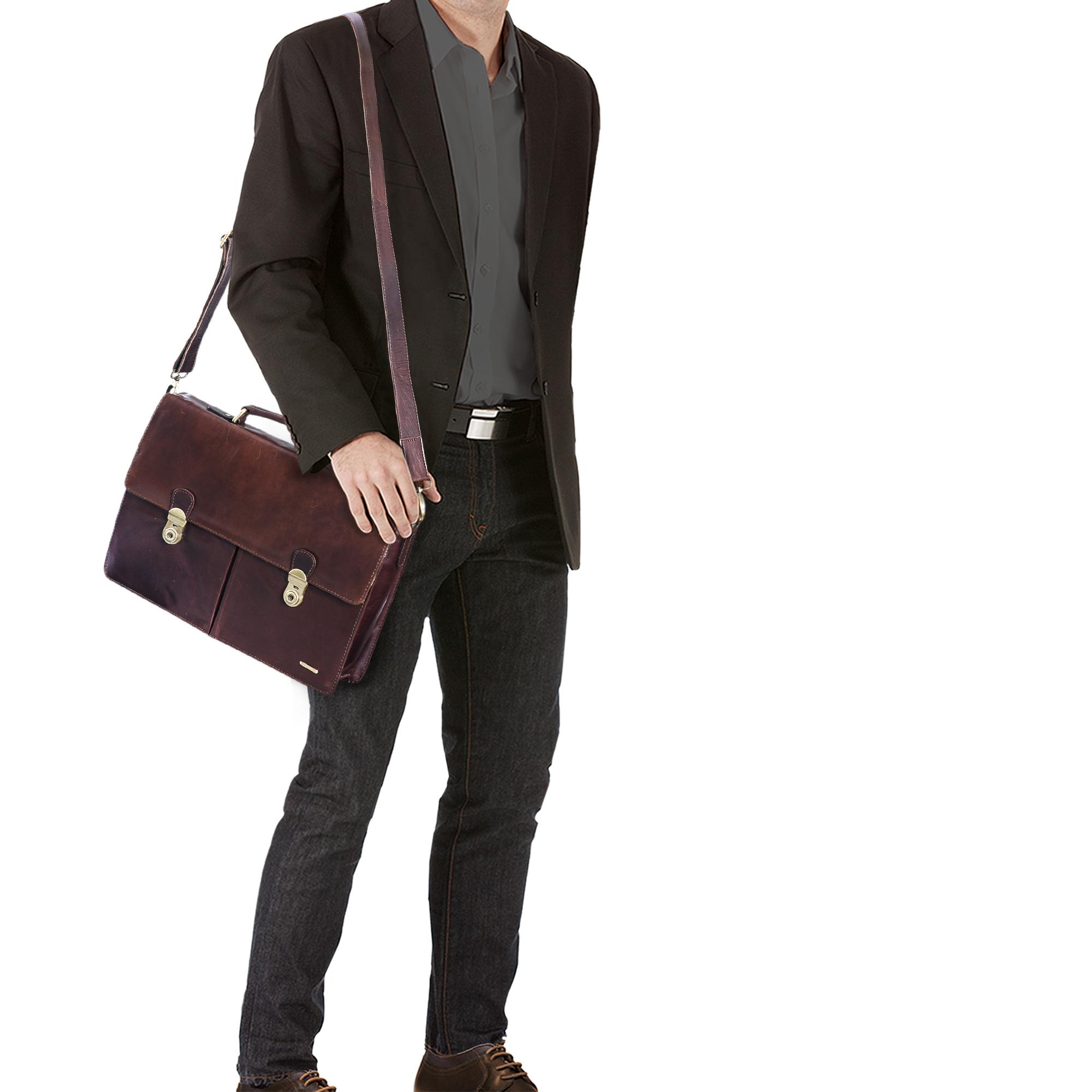 """STILORD """"Arturo"""" Aktentasche Business Herren Leder klassisch elegante Büro Tasche im Vintage Design mit Schloss und abnehmbarem Schultergurt Echtleder - Bild 2"""