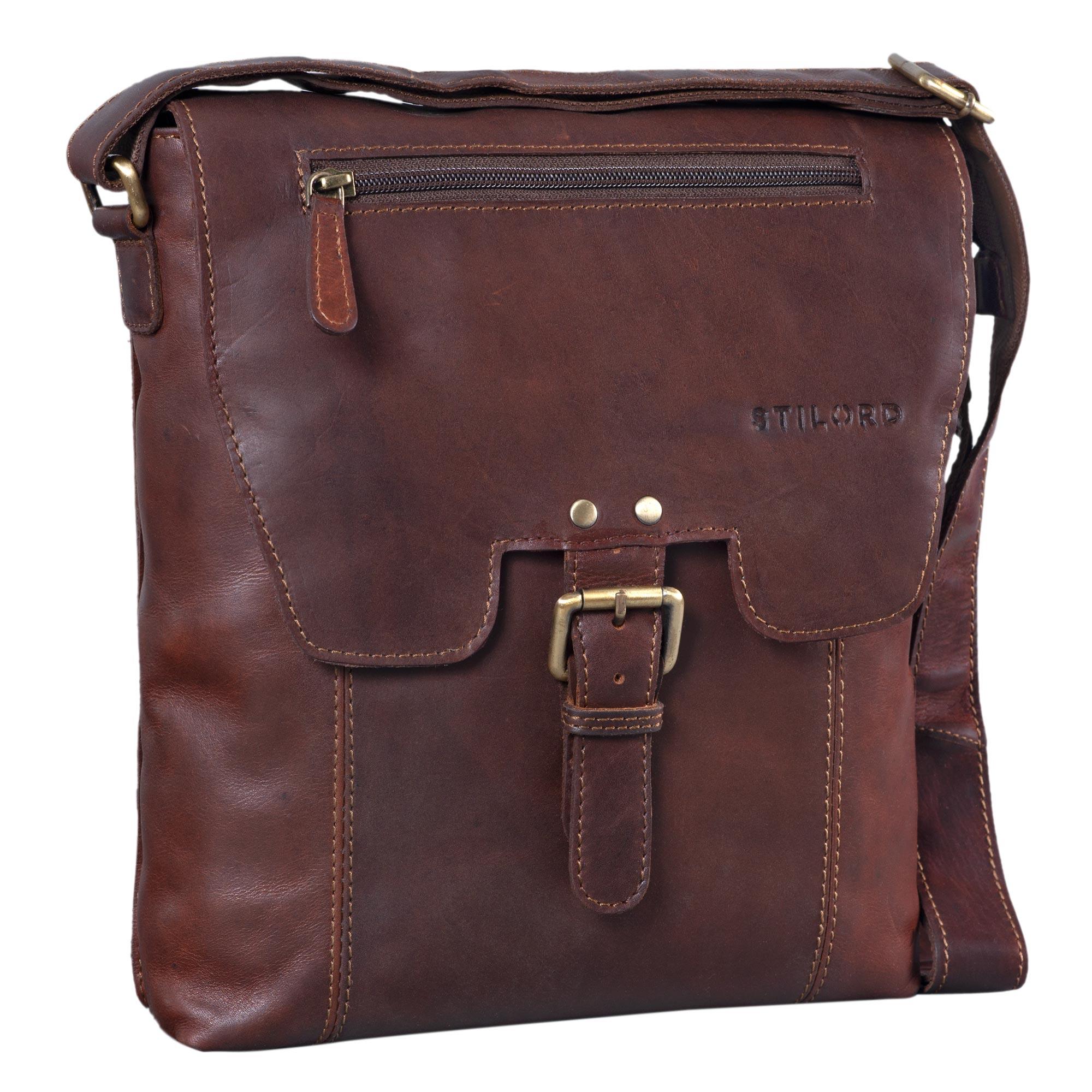 """STILORD """"Rico"""" Vintage Herren Umhängetasche echtes Leder Messenger Bag 10.1 Zoll Tablet-Tasche mittel-große Schultertasche für Männer Echtleder - Bild 8"""