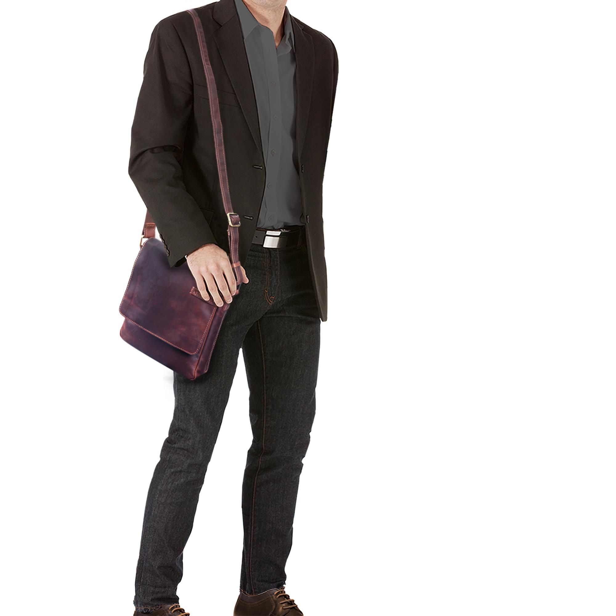 """STILORD """"Dario"""" Männer Umhängetasche Leder Vintage Messenger Bag für iPad 9,7 - 10,1 Zoll Tablettasche klein Schultertasche echtes Leder - Bild 9"""