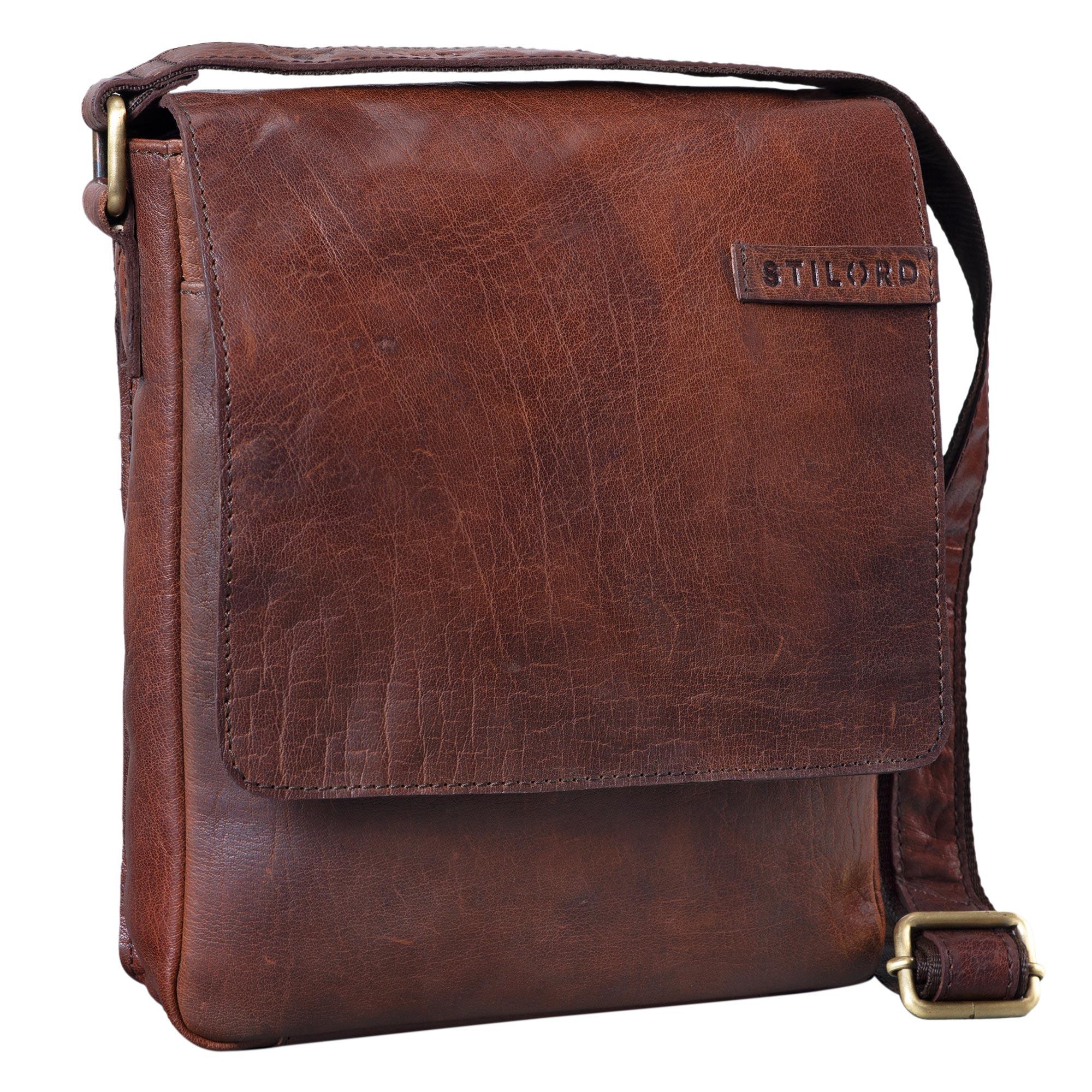 """STILORD """"Dario"""" Männer Umhängetasche Leder Vintage Messenger Bag für iPad 9,7 - 10,1 Zoll Tablettasche klein Schultertasche echtes Leder - Bild 15"""