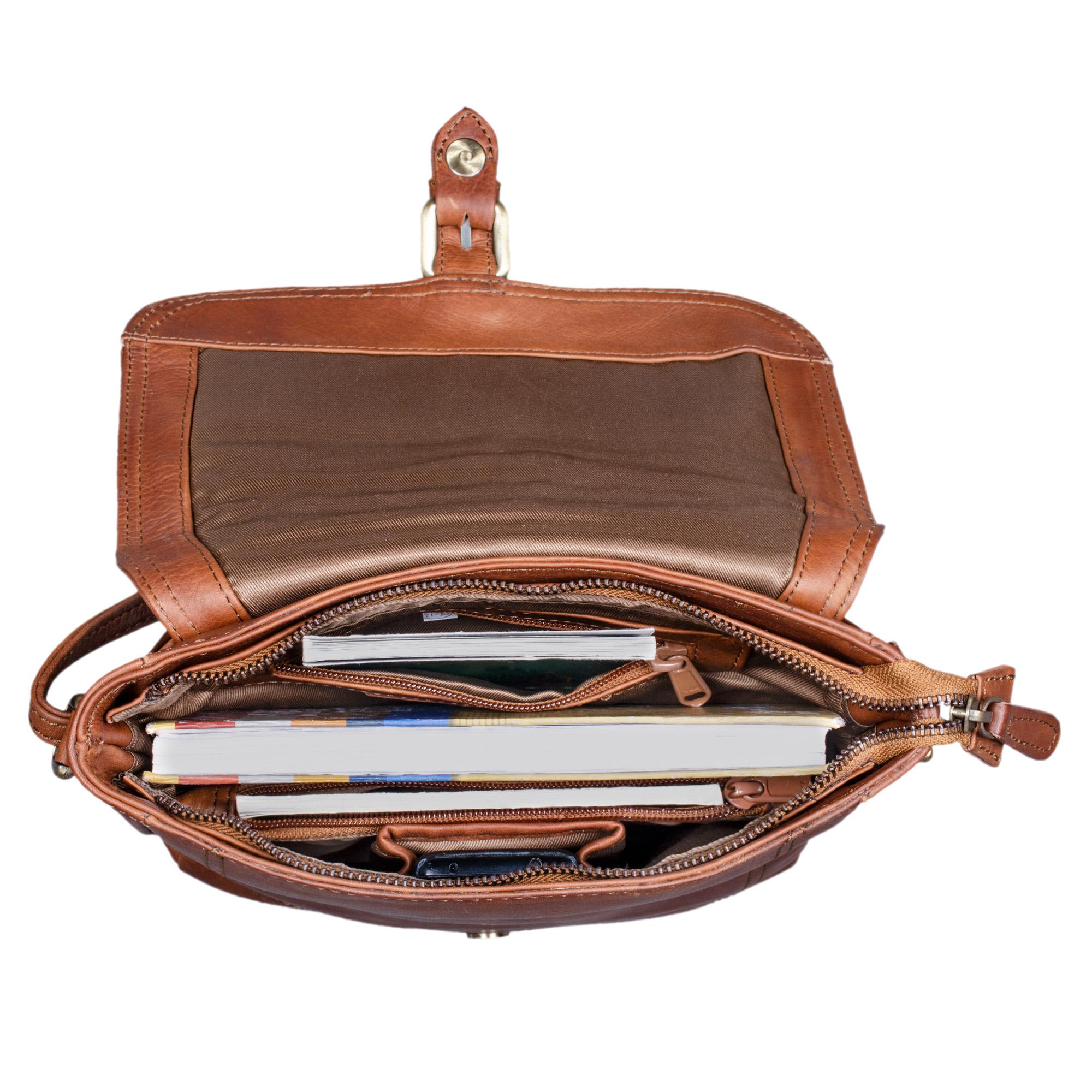 Leder Handtasche cognac braun