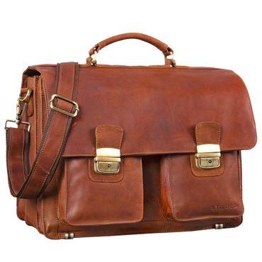 """STILORD """"Atlas"""" Aktentasche Leder groß Vintage Lehrertasche Businesstasche Schultasche XL Bürotasche Herren Damen aufsteckbar echtes Rindsleder Farbe: cognac - braun"""